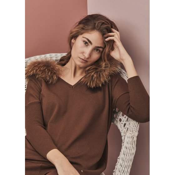 jersey oversize marron m piel natural